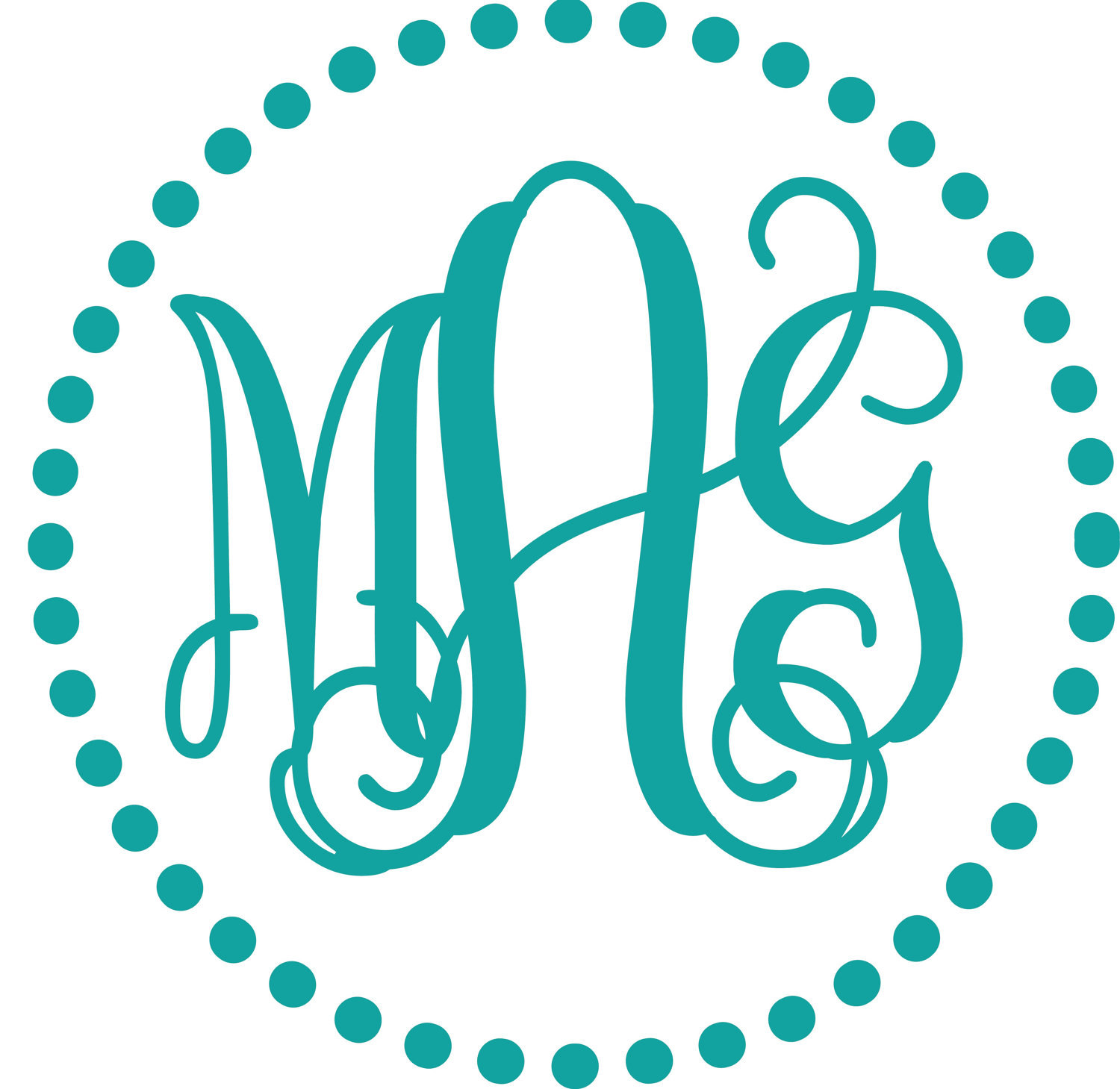 17 monogram fonts for vinyl cutting images free circle for Free monogram template