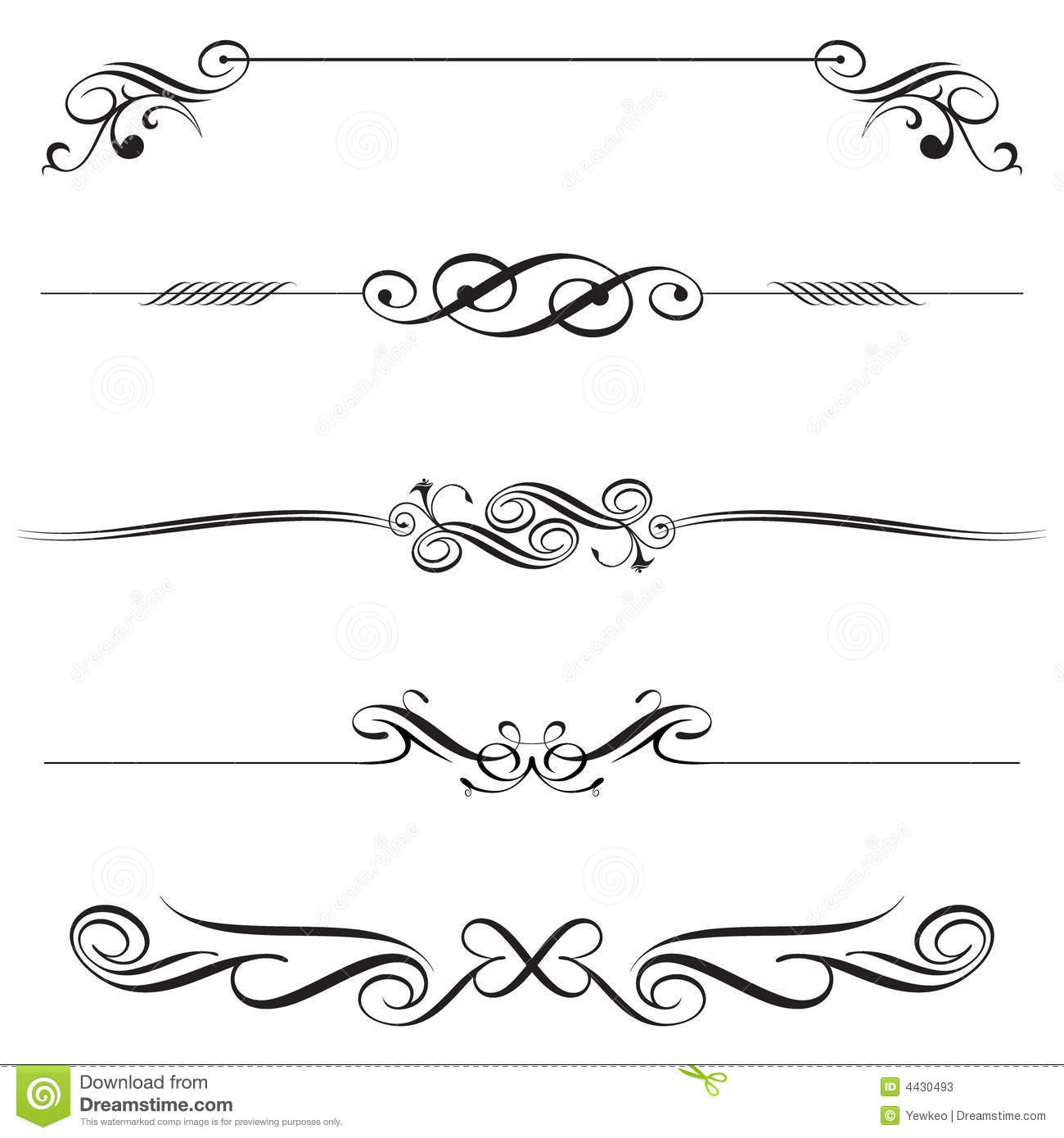 Horizontal Line Art : Decorative line vector art images