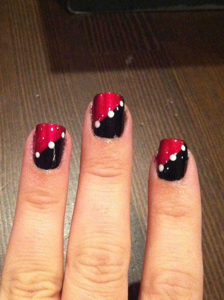 Similiar Red White And Black Nail Design Designed Keywords